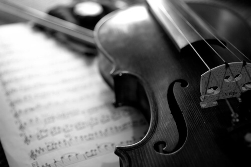 photo of violin and music